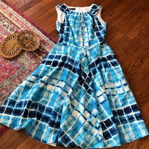 Lafayette 148 Blue and white patterned dress